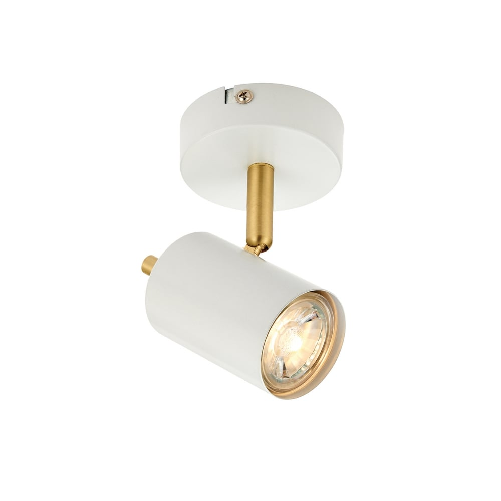 Gull Single Adjustable Ceiling Spotlight In White And Gold