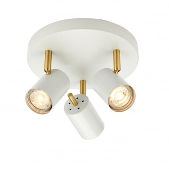 Gull Triple Round Ceiling Spotlights in White and Gold