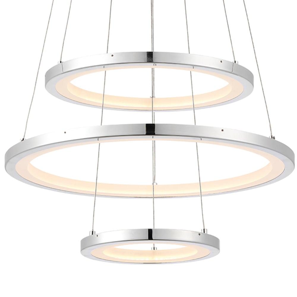 Ceiling Light Led Ring : Endon hemsworth three ring led ceiling pendant light