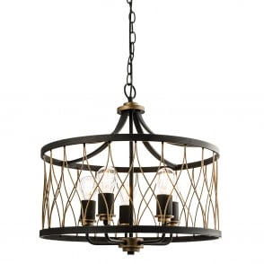 Heston 5 Light Matt Black and Rustic Bronze Pendant Light