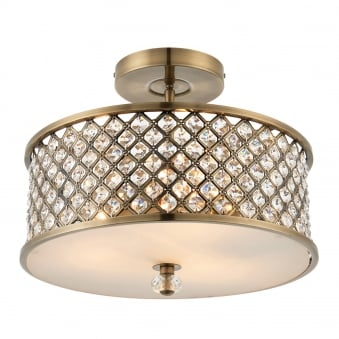 Hudson 3 Light Ceiling Semi Flush Fitting in Antique Brass