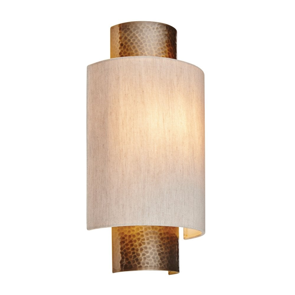 Endon lighting indara flush wall light in hammered bronze effect and linen shade
