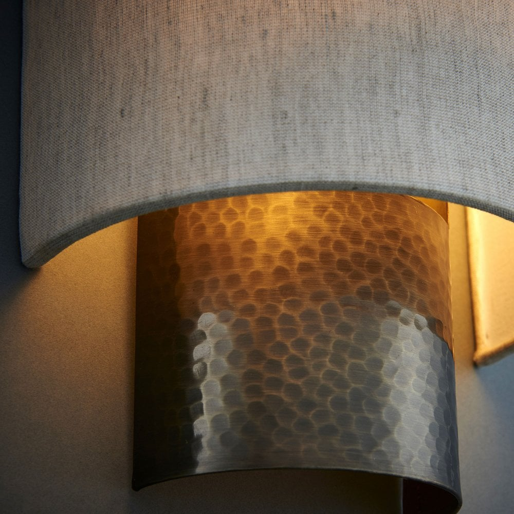 Indara Flush Wall Light In Hammered Bronze Effect And Linen Shade