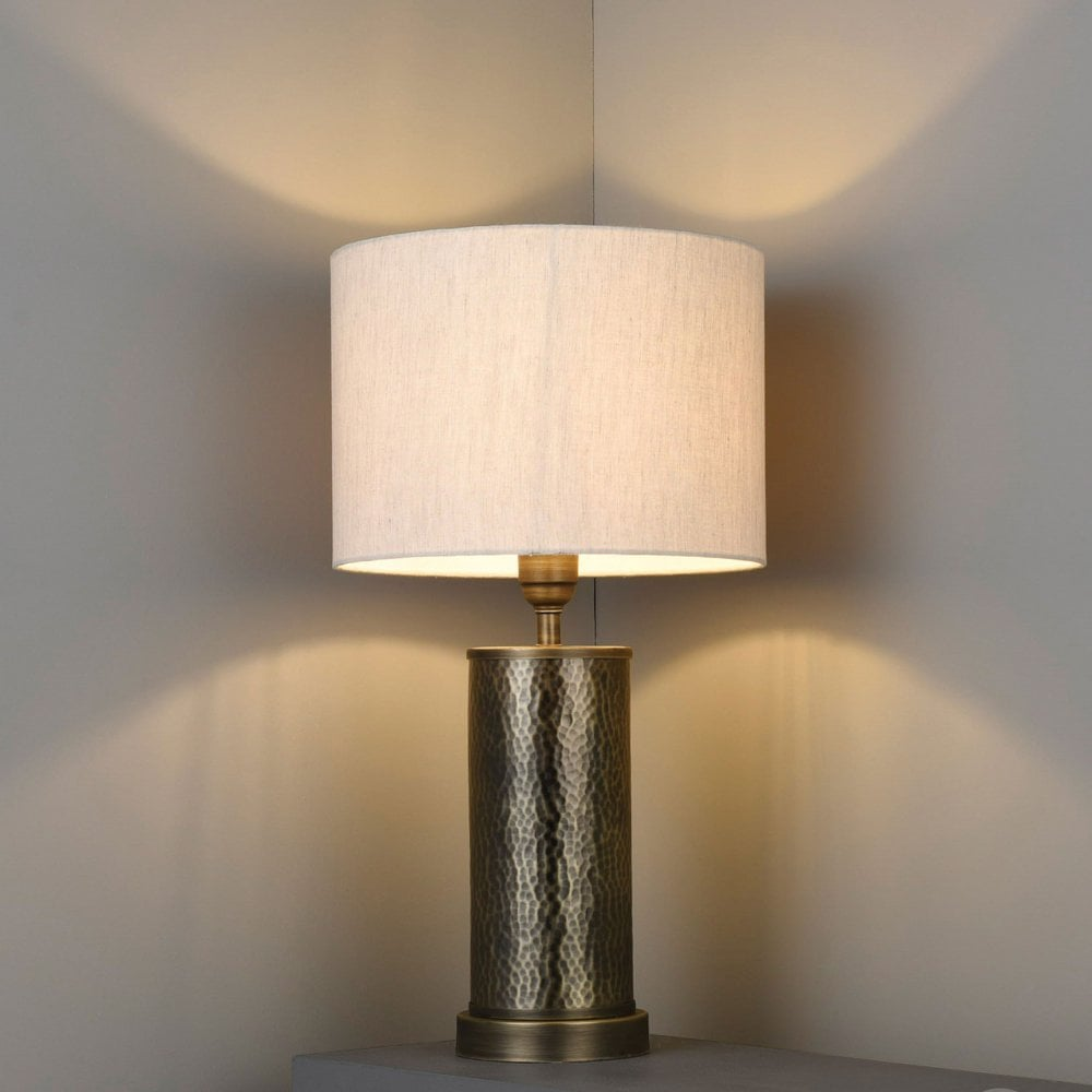 Indara Table Lamp In Hammered Bronze Effect And Linen Shade