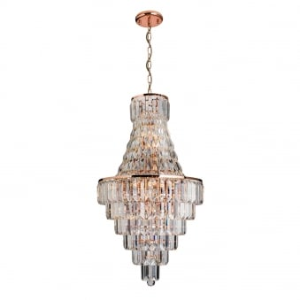 Innsbruck Rose Gold and Asfour Lead Crystal Chandelier Pendant