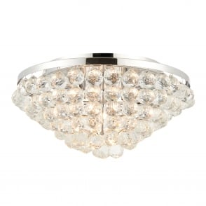 Kiera 4 Light Clear Crystal Glass and Chrome Flush Fitting