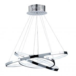 Kline Chrome Plated Three Ring LED Pendant Light