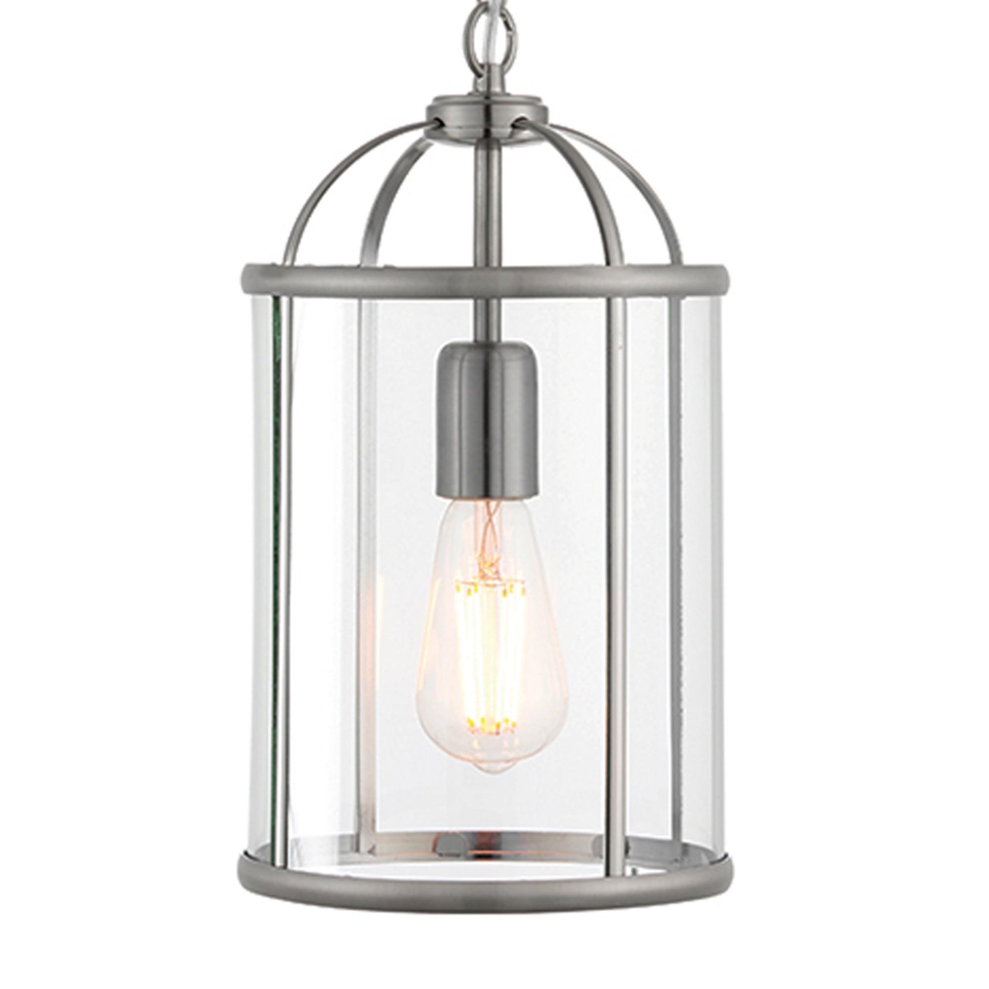 Endon 70323 Lambeth 1 Light Satin Nickel And Glass Lantern Pendant