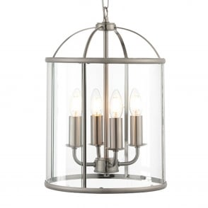 Lambeth 4 Light Satin Nickel and Glass Lantern Pendant