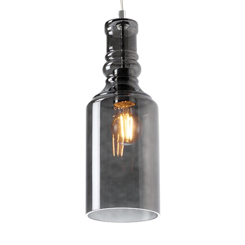 Lancaster Smoked Glass Bottle Style Pendant Light