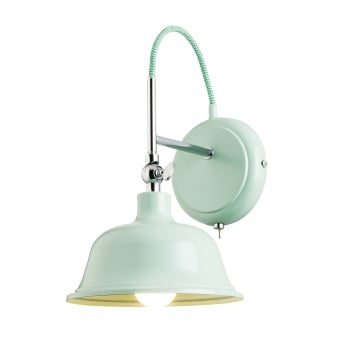 Laughton Light Green and Polished Chrome Wall Light