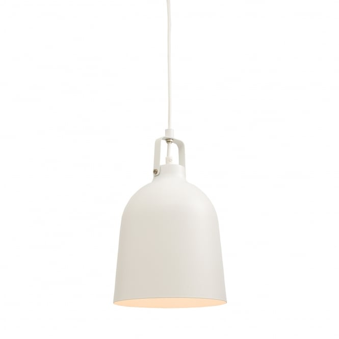 Endon Lighting Lazenby Steel Bell Pendant Light in Matt White