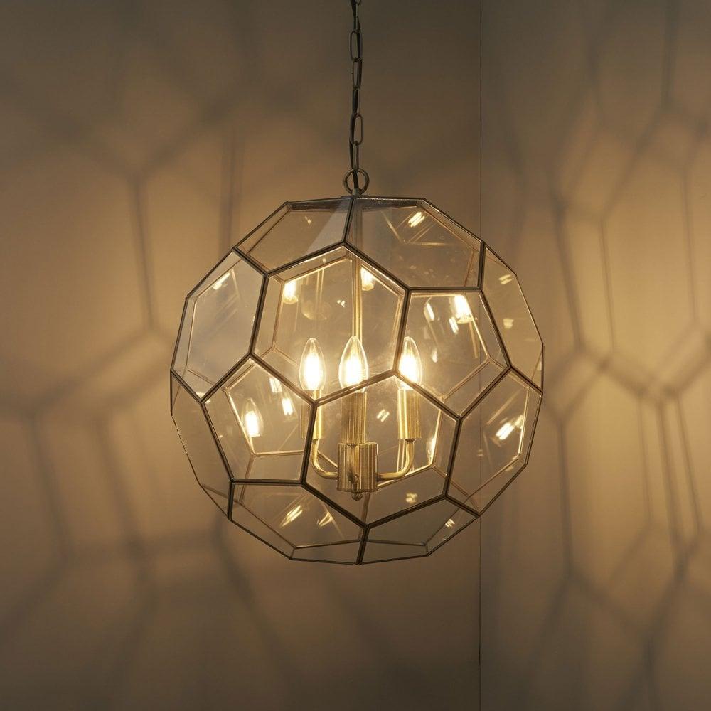 Endon 73560 Miele 3 Hexagonal Glass Pendant Light in ...