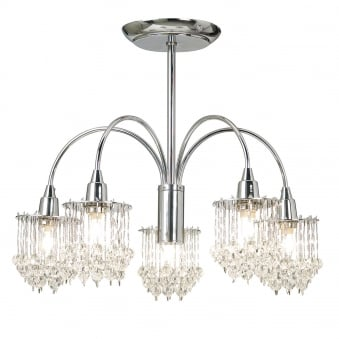 Milieu Clear Faceted Glass and Chrome 5 Light Semi Flush