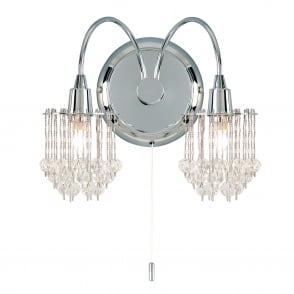 Milieu Clear Faceted Glass and Chrome Switched Wall Light