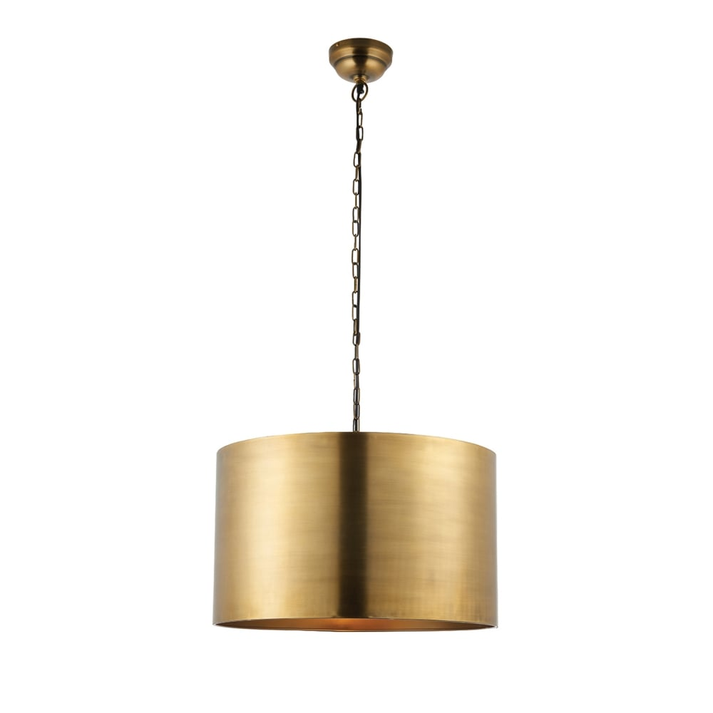 endon 69782 morad drum pendant light in aged brass