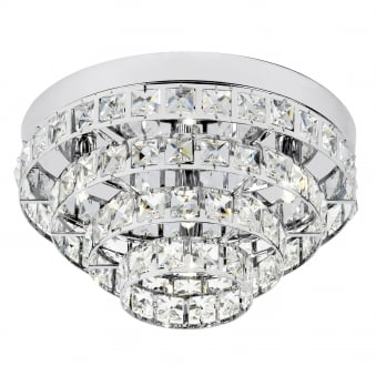 Motown 4 Light Clear Faceted Crystal Glass and Chrome Flush Fitting