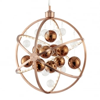 Muni 10w LED Clear and Copper Glass Sphere Pendant Light
