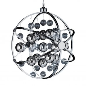 Muni 13w LED Clear and Chrome Large Glass Sphere Pendant Light