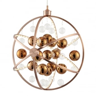 Muni 13w LED Clear and Copper Large Glass Sphere Pendant Light