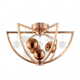 Muni 7.5w LED Clear and Copper Glass Sphere Flush Ceiling Light