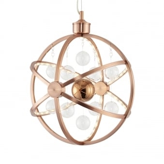 Muni 7.5w LED Clear and Copper Glass Sphere Pendant Light