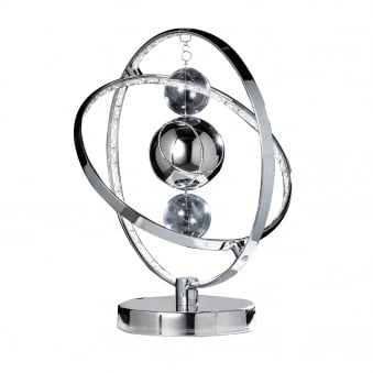 Muni 8w LED Clear and Chrome Glass Sphere Table Lamp