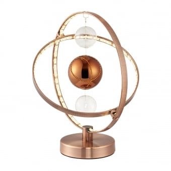 Muni 8w LED Clear and Copper Glass Sphere Table Lamp
