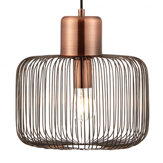 Endon Lighting Nicola Cylinder Cage Pendant Light in Copper