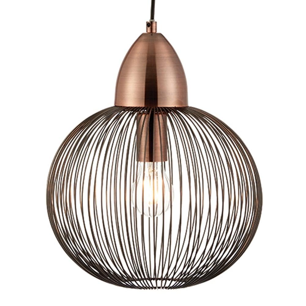 Nicola round cage pendant light in copper
