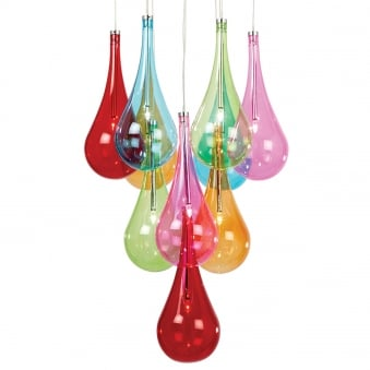 Niro 10 Light Multi Coloured Glass Cluster Pendant Light
