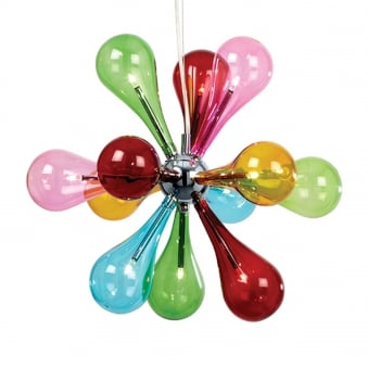 Niven 9 Light Multi Coloured Glass Cluster Pendant Light