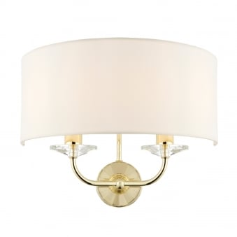 Nixon 2 Light Brass Effect and Crystal Wall Light with Vintage White Shade