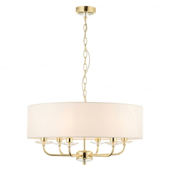 Endon Lighting Nixon 6 Light Brass Effect and Crystal Ceiling Pendant Light