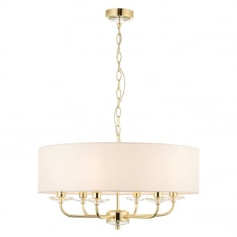 Nixon 6 Light Brass Effect and Crystal Ceiling Pendant Light