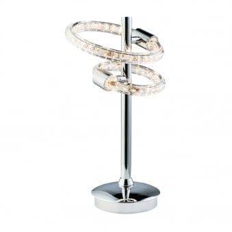 Nolte 2 Light LED Chrome and Clear Crystal Table Lamp