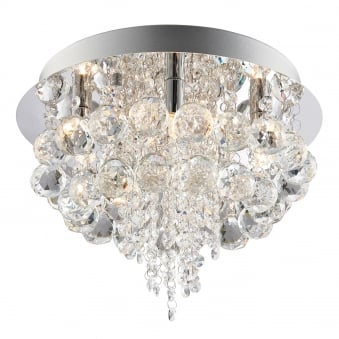 Olmos 5 Light Clear Crystal Glass and Chrome Flush Fitting