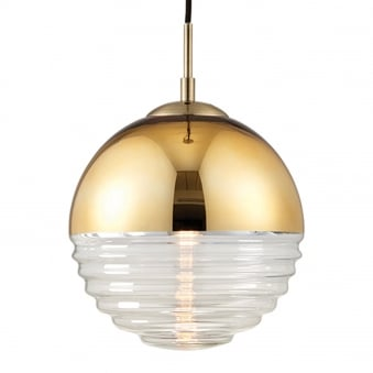 Paloma Gold Effect and Clear Ribbed Glass Pendant Light