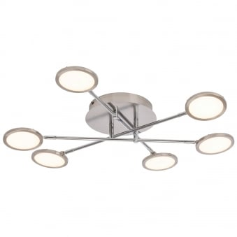 Pluto LED Semi Flush EasyDim Satin Nickel Ceiling Light