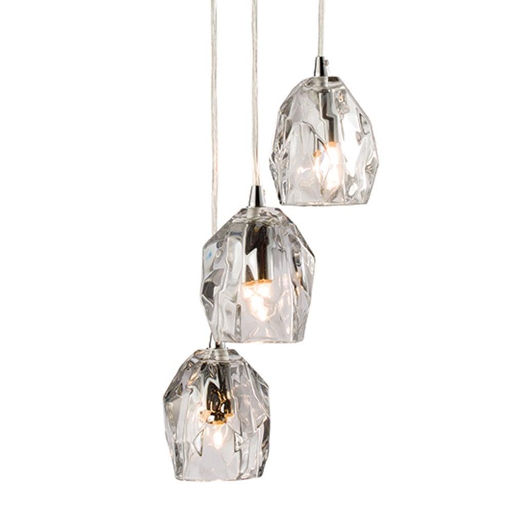 Poitier 3 Light Clear Glass Cluster Pendant Light