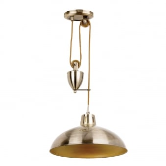 Polka Rise and Fall Pendant Light in Antique Brass