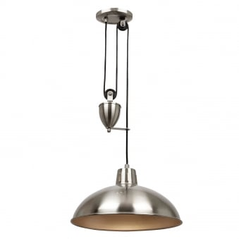 Polka Rise and Fall Pendant Light in Satin Nickel