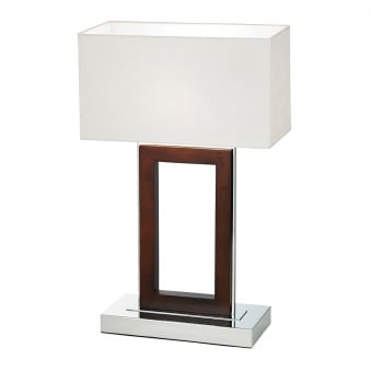 Portal Table Lamp in Dark Wood and Polished Chrome