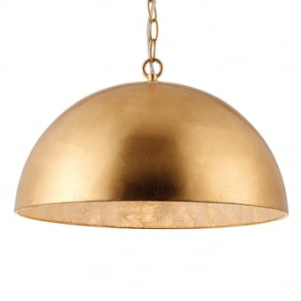 Queenie Dome Pendant Light in Gold Leaf and Natural Capiz Shell