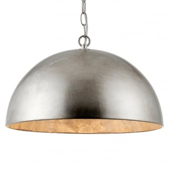 Queenie Dome Pendant Light in Silver Leaf and Natural Capiz Shell