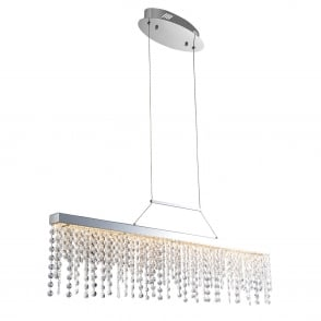 Redford LED Chrome Plate and Crystal Glass Droplet Bar Pendant