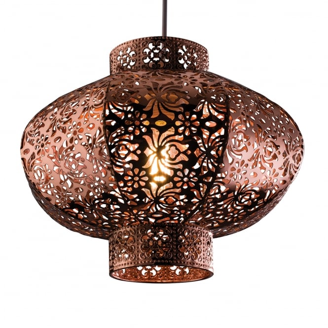 Endon Lighting Ruskin Copper Plated Cut Out Easy Fit Shade