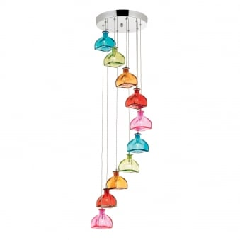 Sarandon 10 Light Multi Coloured Glass Cluster Pendant Light