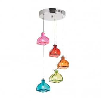 Sarandon 5 Light Multi Coloured Glass Cluster Pendant Light