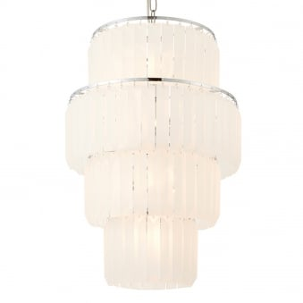 Selina 10 Light Frosted Glass Crystal and Chrome Pendant